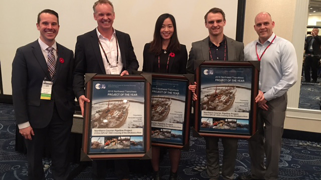 Representatives from TransCanada, Michels and CCI Inc. accepted the Project of the Year award for the Northern Courier Pipeline Project in November 2016.