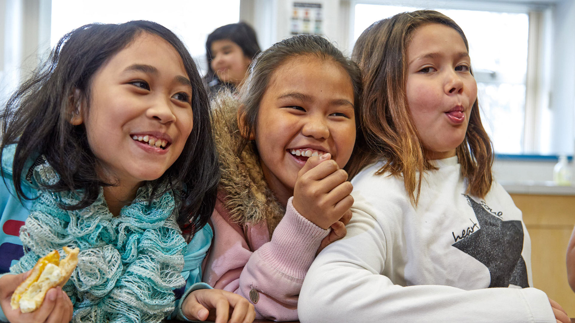 Happy students at Ron Brent Elementary School in Prince George, B.C.